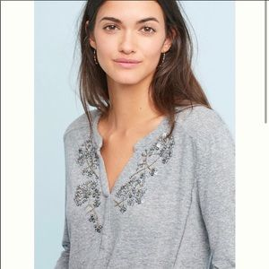 ANTHRO Akemi + Kin Beaded Grey Long Sleeved Top